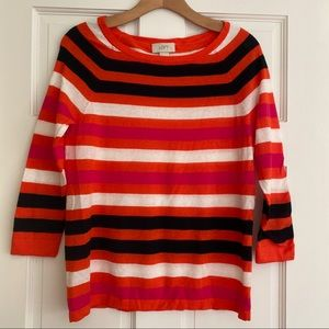 LOFT Striped Lightweight Sweater Orange Pink Black